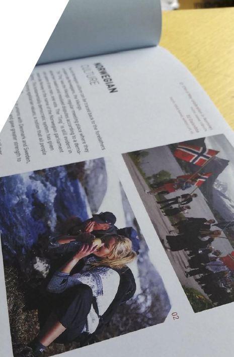 """Slike gutter, etc.: Faksimile fra brosjyren """"New in the Ålesund region""""."""